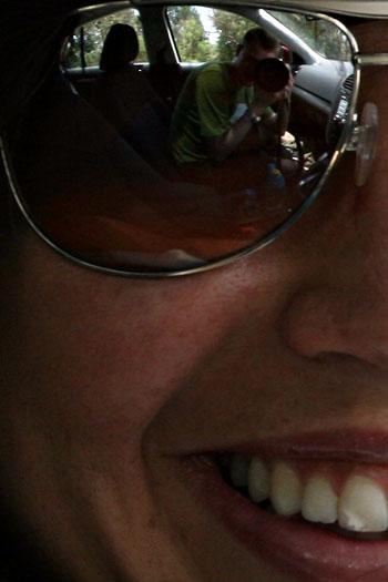In Sandra's glasses